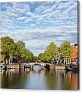 River View Of Amsterdam In The Netherlands Canvas Print
