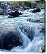 River Water Flowing Through Rocks At Dawn Canvas Print