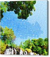 River Waterfall Painting Canvas Print