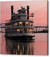Riverboat At Sunset Canvas Print