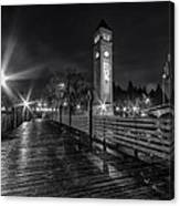 Riverfront Park Clocktower Seahawks Black And White Canvas Print