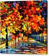 Rivershore Park - Palette Knife Oil Painting On Canvas By Leonid Afremov Canvas Print