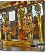 Rms Queen Mary Bridge Well-polished Brass Annunciator Controls And Steering Wheels Canvas Print