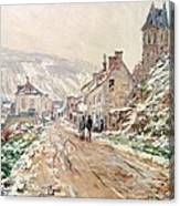 Road In Vetheuil In Winter Canvas Print
