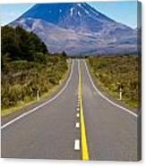 Road Leading To Active Volcanoe Mt Ngauruhoe In Nz Canvas Print