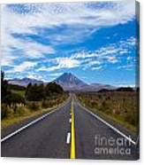 Road Leading To Active Volcanoe Mt Ngauruhoe Nz Canvas Print