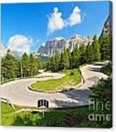 road to Pordoi pass Canvas Print