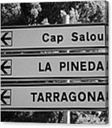 Roadsign Directions For Cap Salou La Pineda And Tarragona Catalonia Spain Canvas Print