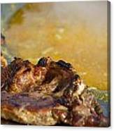 Roasted Steak In Traditional Kotlovina Dish Canvas Print
