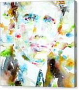 Robert Frost . Watercolor Portrait Canvas Print