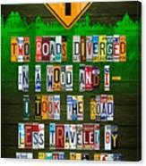 Robert Frost The Road Not Taken Poem Recycled License Plate Lettering Art Canvas Print