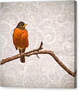 Robin With Damask Background Canvas Print