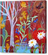 Robin's Blueberry Daisy Sunshiny Day Canvas Print