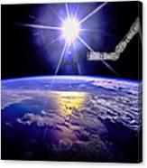 Robot Arm Over Earth With Sunburst  Canvas Print