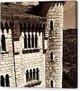 Rocamadour Stone Tower Vertical Panorama Sepia Canvas Print
