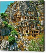 Rock-carved Tombs In Myra-turkey Canvas Print
