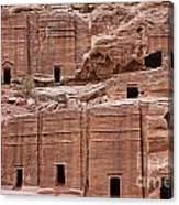 Rock Cut Tombs On The Street Of Facades In Petra Jordan Canvas Print
