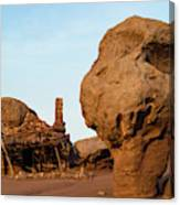 Rock Formations And Abandoned Building Canvas Print