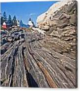 Rock Formations At Pemaquid Point Light Canvas Print