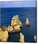 Rock Formations In The Sea, Algarve Canvas Print