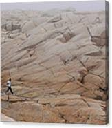 Rock Jogger At Peggy's Cove Canvas Print