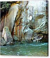 Rock Wall And River Canvas Print
