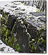 Rock Wall With Moss And A Dusting Of Snow Art Prints Canvas Print