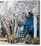 Rocking Chair On Porch In Winter Canvas Print