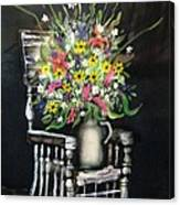 Rocking Chair With Flowers Canvas Print