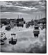 Rockport Harbor View - Bw Canvas Print