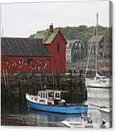 Rockport Inner Harbor With Lobster Fleet And Motif No.1 Canvas Print