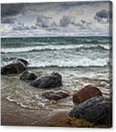 Rocks And Waves At Wilderness Park In Sturgeon Bay Canvas Print