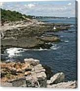 Rocks Below Portland Headlight Lighthouse 2 Canvas Print