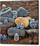 Rocky Faces In The Sand Canvas Print