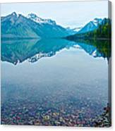 Rocky Mountain And Rocky Bottom Reflection In Lake Mcdonald In Glacier National Park-montana Canvas Print