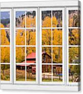 Rocky Mountain Autumn Ranch White Window View Canvas Print