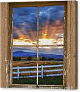 Rocky Mountain Country Beams Of Sunlight Rustic Window Frame Canvas Print