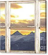 Rocky Mountain Sunset White Rustic Farm House Window View Canvas Print