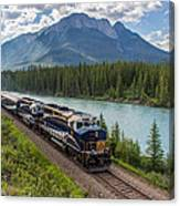 Rocky Mountaineer At Muleshoe On The Bow River Canvas Print