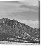 Rocky Mountains Flatirons And Longs Peak Panorama  2 Canvas Print