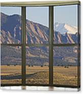 Rocky Mountains Flatirons With Snow Longs Peak Bay Window View Canvas Print
