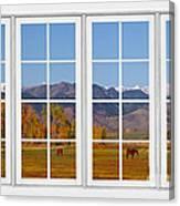 Rocky Mountains Horses White Window Frame View Canvas Print