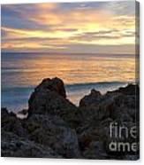 Rocky Shoreline At Sunset Canvas Print