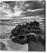 Rocky Surf In Black And White Canvas Print