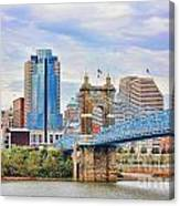 Roebling Bridge And Downtown Cincinnati 9850 Canvas Print