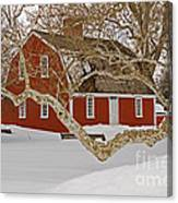 Roger Williams Cottage In Winter Canvas Print