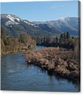 Rogue River And Mt Baldy In Winter Canvas Print
