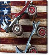 Rollar Skates With Wooden Flag Canvas Print