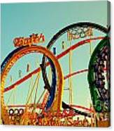 Rollercoaster At The Octoberfest In Munich Canvas Print