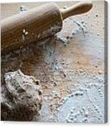 Rolling Pin With Dough And Flour Canvas Print